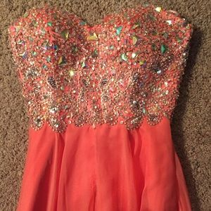 Coral Beaded & Chiffon Gown